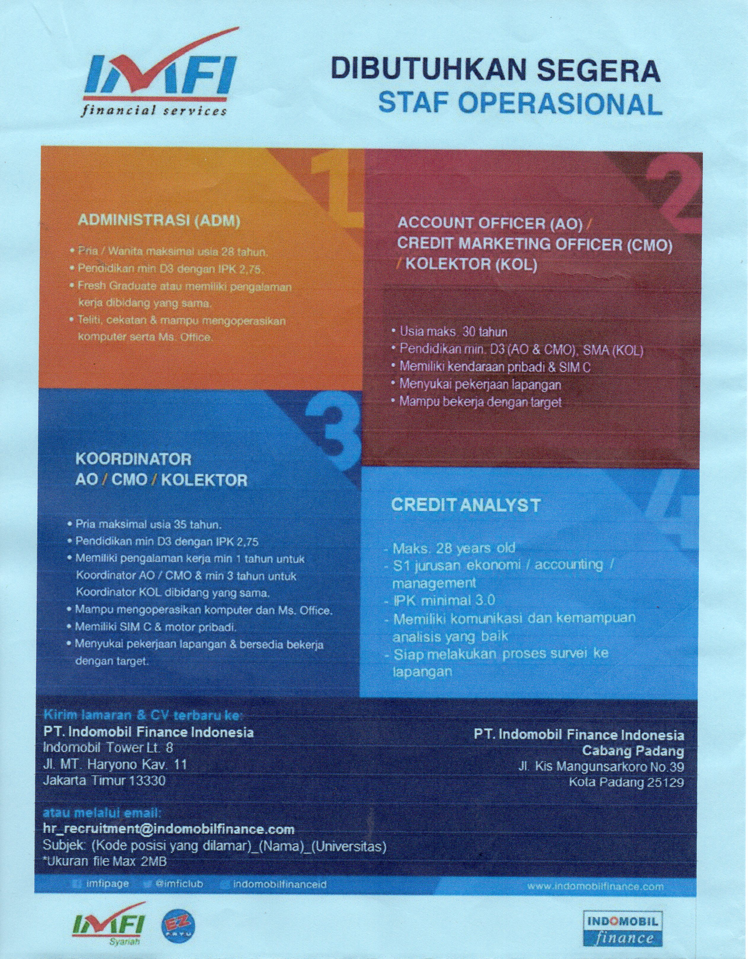 Lowongan Pekerjaan PT. Indomobil Finance Indonesia