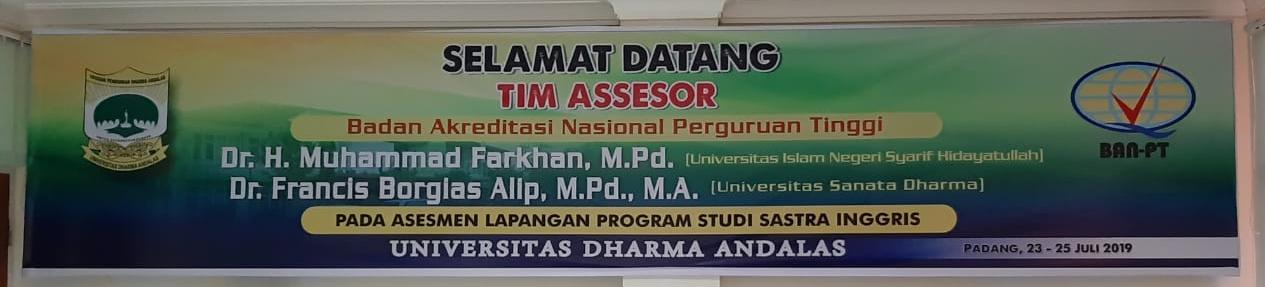 Selamat Datang Tim Asesor BAN-PT dalam rangka asesmen lapangan program studi sastra inggris