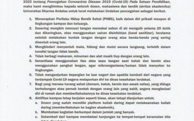 Surat Edaran Rektor UNIDHA Terkait Waspada Covid-19