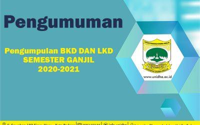 Informasi Pengumpulan BKD dan LKD Semester Ganjil 2020-2021 Dosen UNIDHA