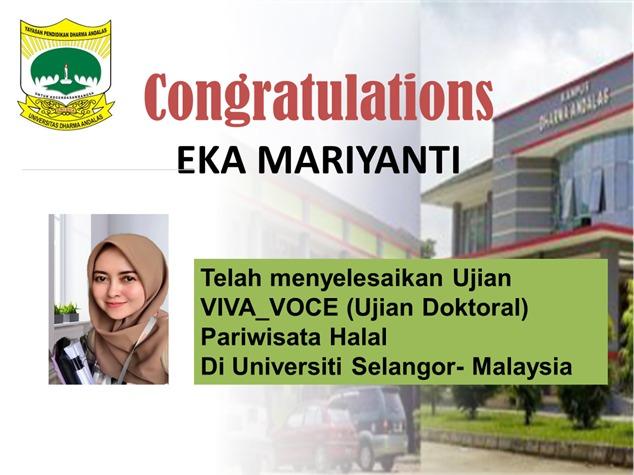 Selamat Kepada Eka Mariyanti, Dosen Universitas Dharma Andalas Yang Telah Menyelesaikan Ujian VIVA-VOCE (Ujian Doktoral) di Bidang Pariwisata Halal pada Universiti Selangor – Malaysia