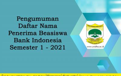 Daftar Nama Penerima Beasiswa Bank Indonesia Semester 1- 2021